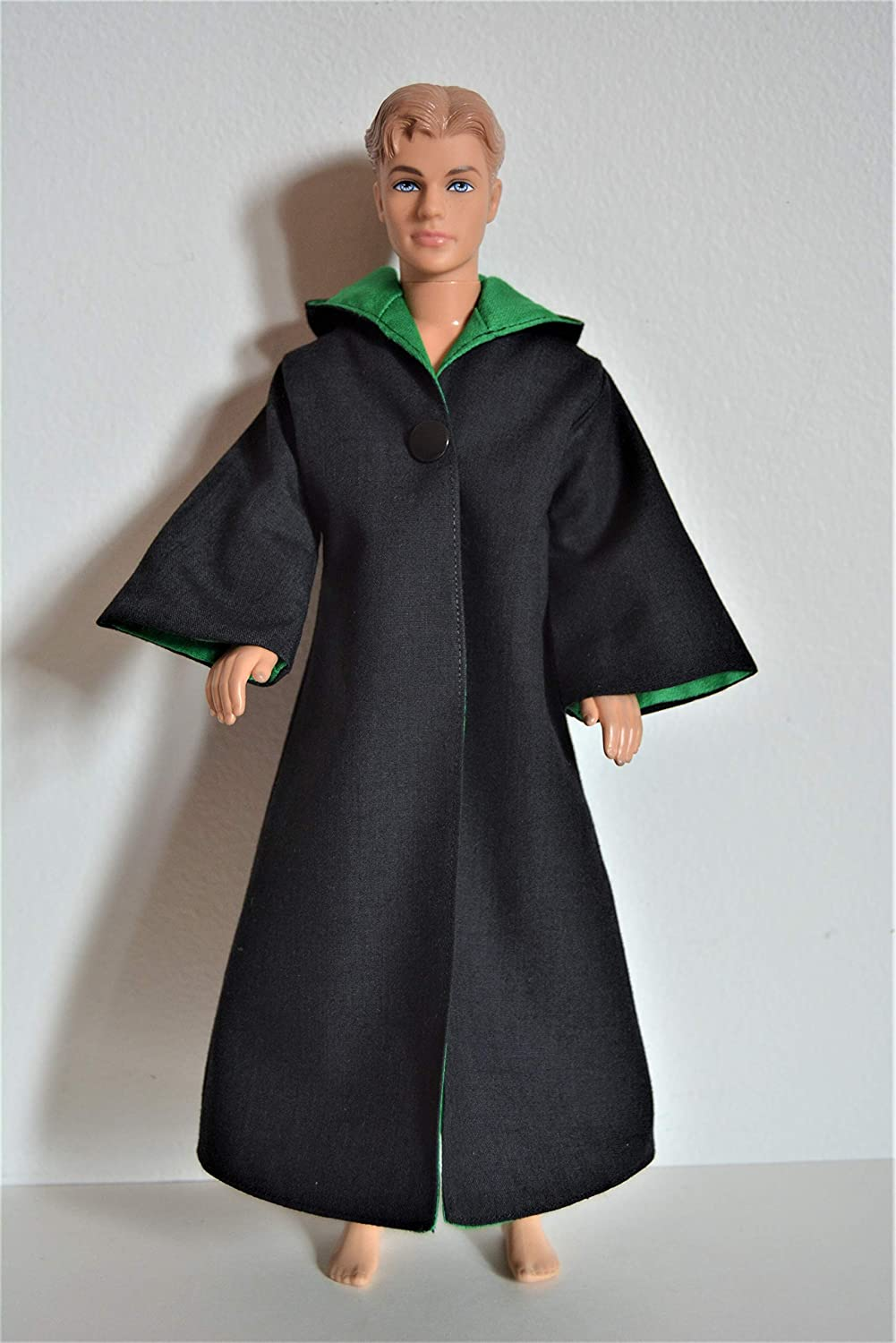 Handmade Wizard School Uniform Costume Cloak Robe Green House Color fit 12' Barbie Boy Dolls Ken