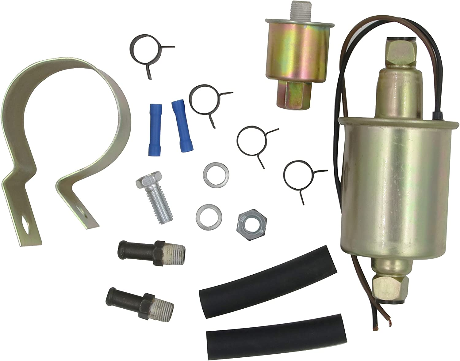 CUSTONEPARTS New Universal 12v 5-9 PSI 5/16 inch In Line External Electric Fuel Pump w/Installation Kit E8012S P60430 EP12S (2 Wire)