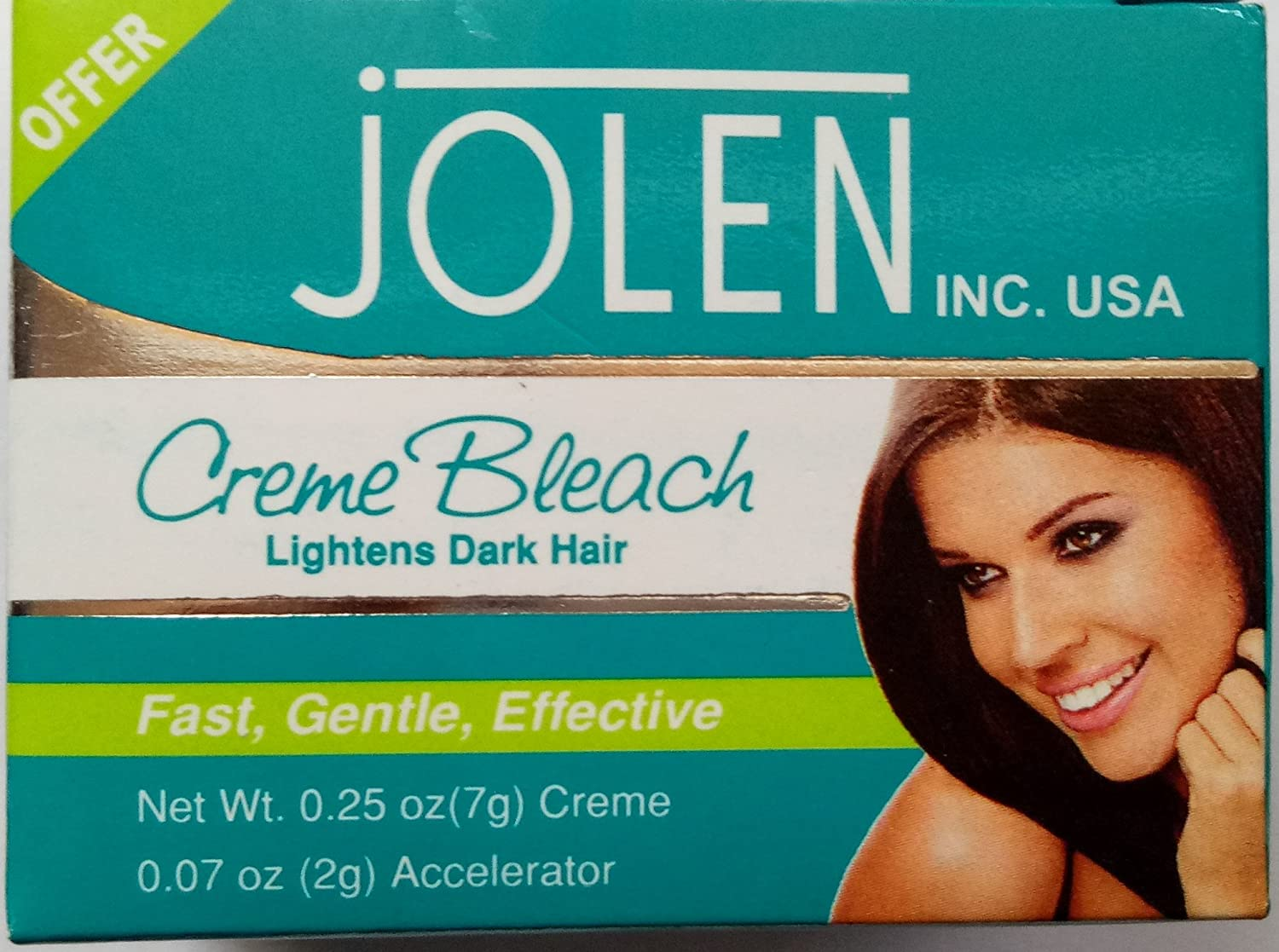 9 gm PACK Jolen Creme Bleach Lightens Dark Facial Hair Cream BUY 1 GET 1 FREE india