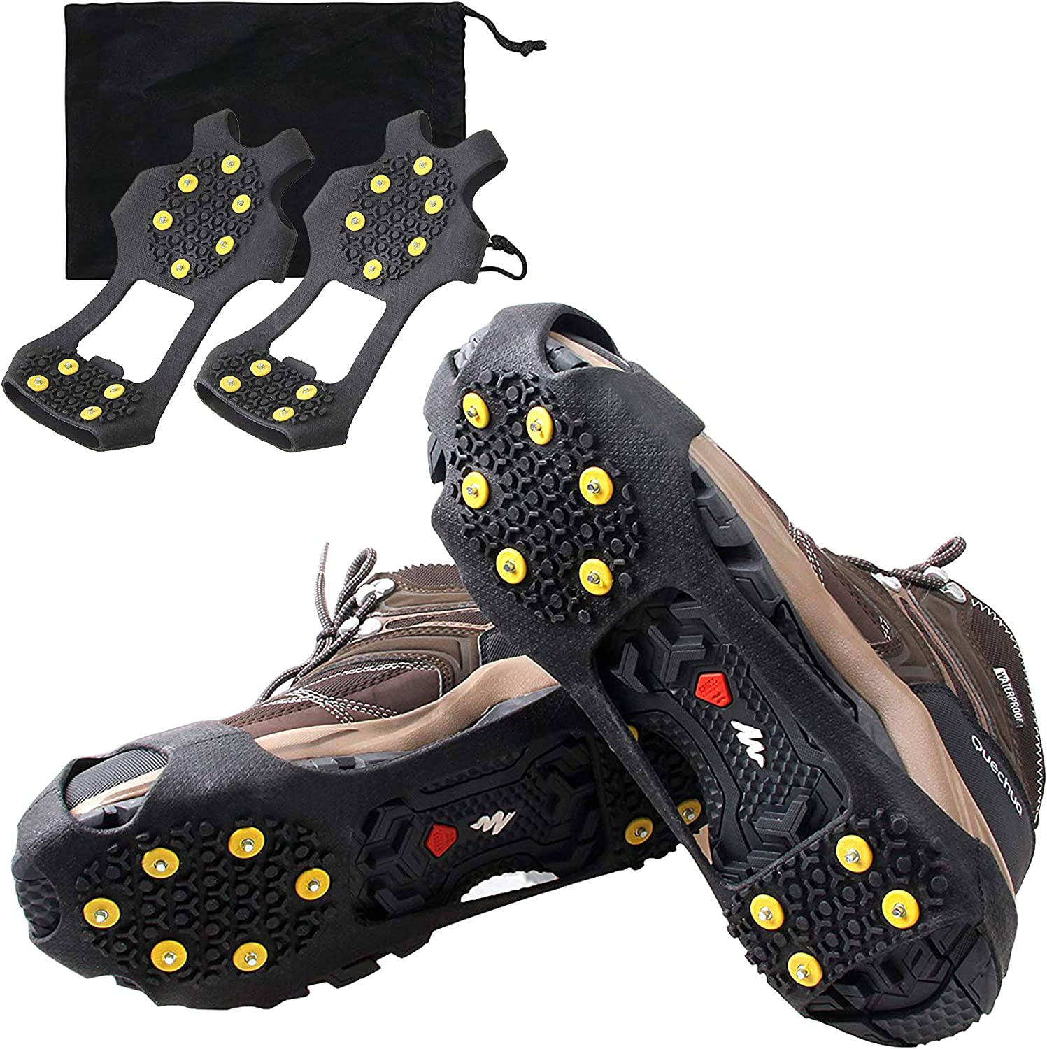 Crampons Ice Traction Cleats,Traction Cleats for Walking or Hiking on Snow and Ice Women Men Kids Anti Slip Jogging Grips Quickly and Easily Over Footwear for Snow and Ice
