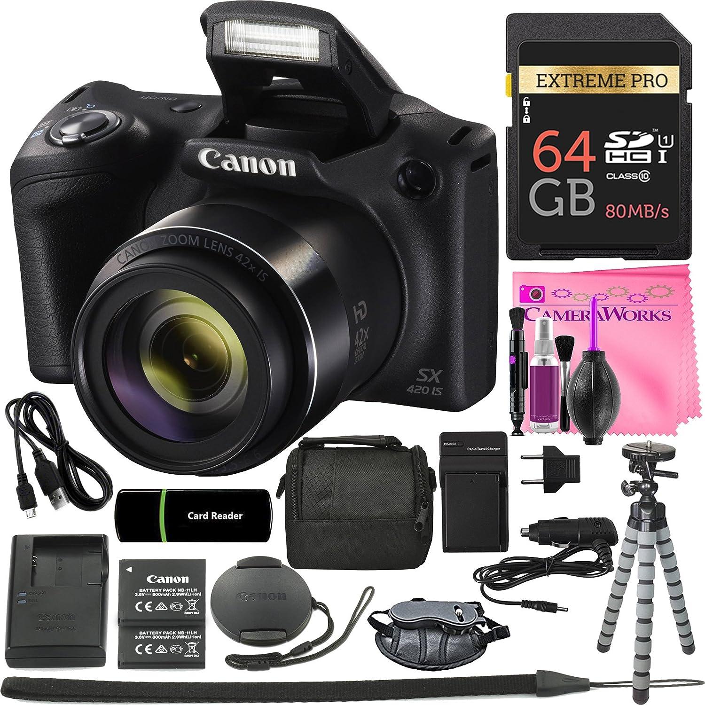 Canon PowerShot sx420 isデジタルカメラ(ブラック) W / 20 MP、42 x光学ズーム、720p HDビデオ& Wi - Fi + 64 GBカード+リーダー+グリップ+スペアバッテリー/充電器+三脚+カメラComplete Works Accessoryバンドル   B07CLH76ZL
