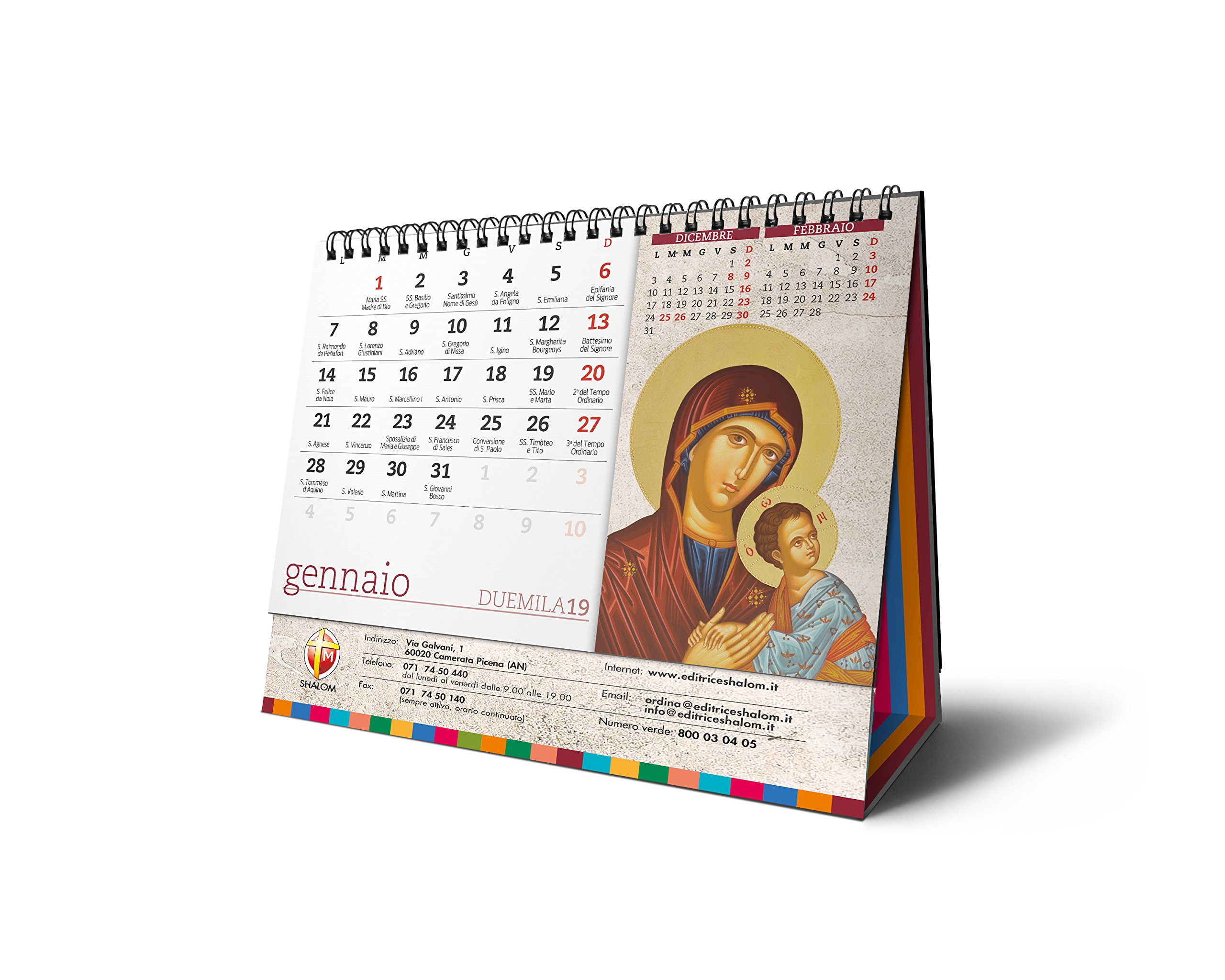 Calendario Ortodosso Santi.Amazon It Calendario Da Tavolo 2019 Editrice Shalom Libri