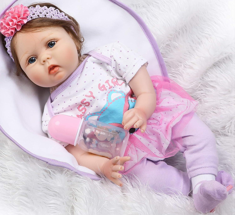 Muñecas De Bebé Reborn De Vinilo Suave Realista Bebé Reborn Muñecas De Bebé Real Muñeca Bebé Muñeca De Silicona Recién Nacido Ojos Abiertos 22 Pulgadas Realista Bebé Muñeca Regalo De Navidad