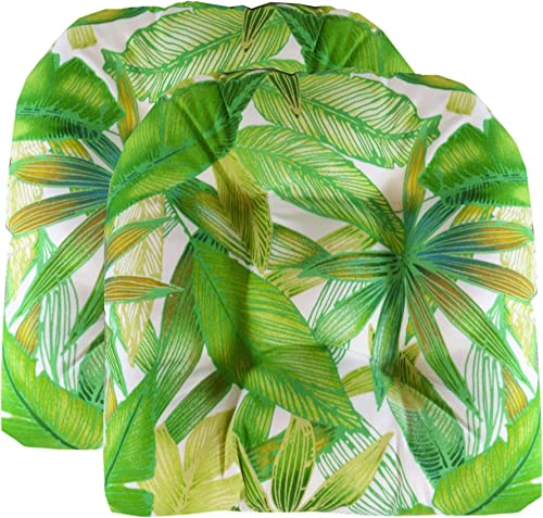 RSH D cor Set of 2 Indoor Outdoor Wicker Chair Cushion U Shape Cantrell Palm Green Yellow Leaves