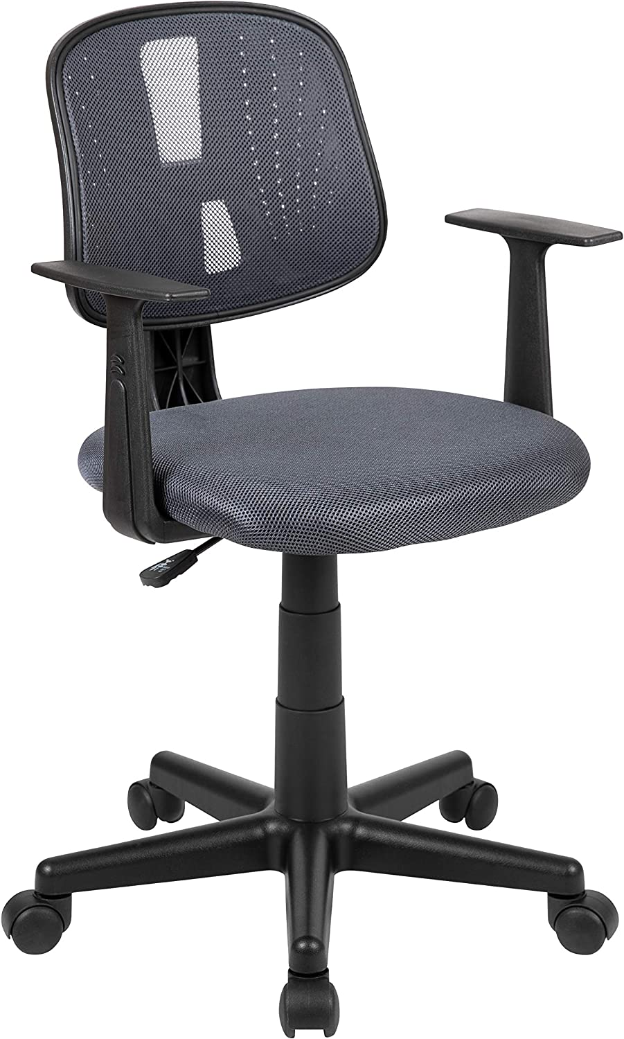 Flash Fundamentals Mid-Back Gray Mesh Swivel Task Office Chair with Pivot Back and Arms