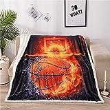 A Nice Night Basketball Print Sherpa Fleece Blanket Twin Size Plush Throw Blanket Fuzzy Soft Blanket Microfiber…