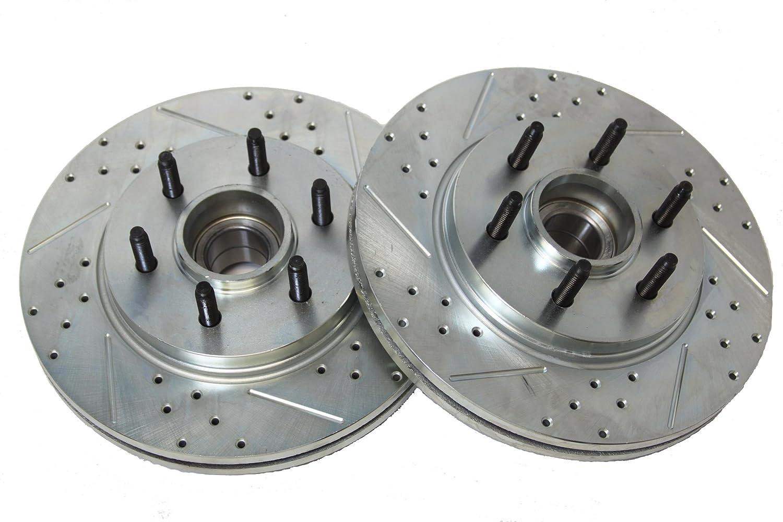 BAER 54107-020 Sport Rotors Slotted Drilled Zinc Plated Front Brake Rotor Set Pair Baeer Brakes