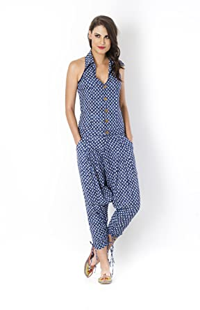 cc1a2f3a051 Desi Weaves Indigo Leaf Printed Sleeveless Jodhpuri Jumper Jumpsuits  Playsuits available at Amazon for Rs.