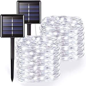 JMEXSUSS White Solar String Lights 2 Pack, 200 LED 65.5ft Solar Fairy Lights, 8 Modes Waterproof Copper Wire Lights for Outdoor, Home Garden, Patio, Wedding, Party, Christmas Decoration