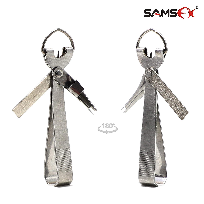 SAMSFX - Herramienta de Pesca para Atar con Nudos rápidos 4 en 1 con Mosca y Retractor de zingón, Individual Silver 4 in 1 Nipper No Grip: Amazon.es: ...