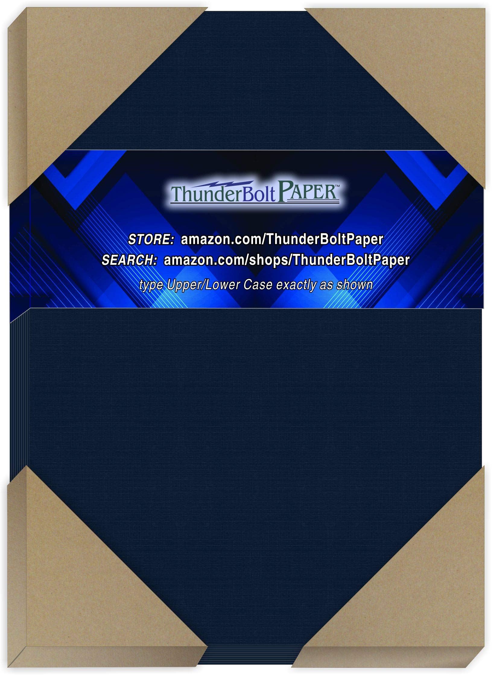 """50 Dark Navy Blue Linen 80# Cover Paper Sheets - 5.5"""" X 8.5"""" (5.5X8.5 Inches) Half Letter 