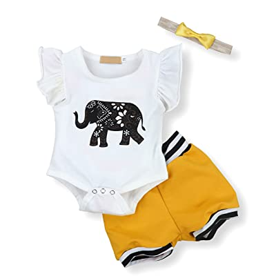 Seyouag Easter Infant Baby Boy Girl Elephant Romper and Short Pants With Headband Outfits Set