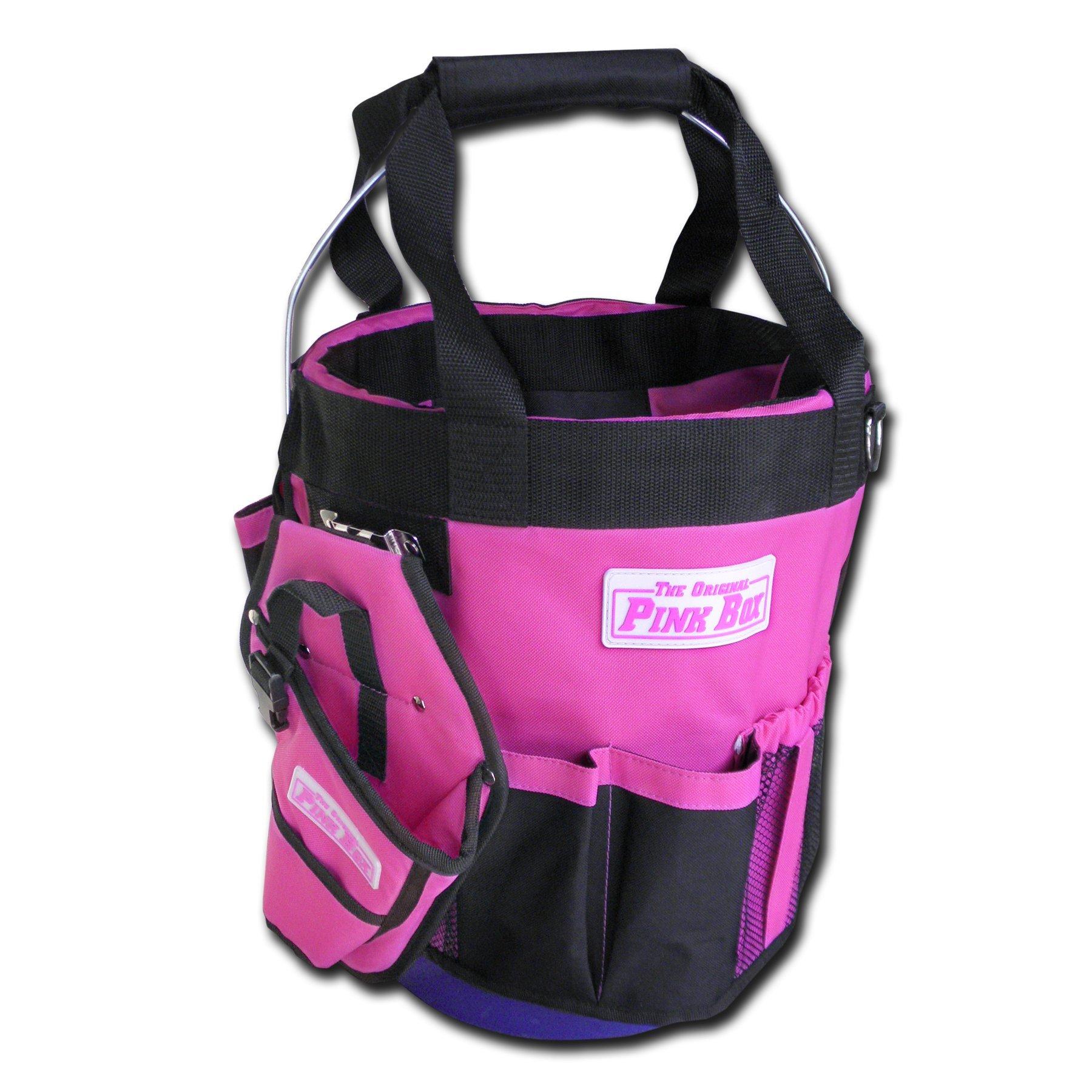 The Original Pink Box PB20BUKT 20-Pocket Bucket Caddy Tool Pouch, Pink