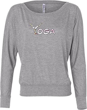 8e487533ad Yoga Spelling Flowy Off-The-Shoulder Yoga Tee Shirt, Athletic Heather Small