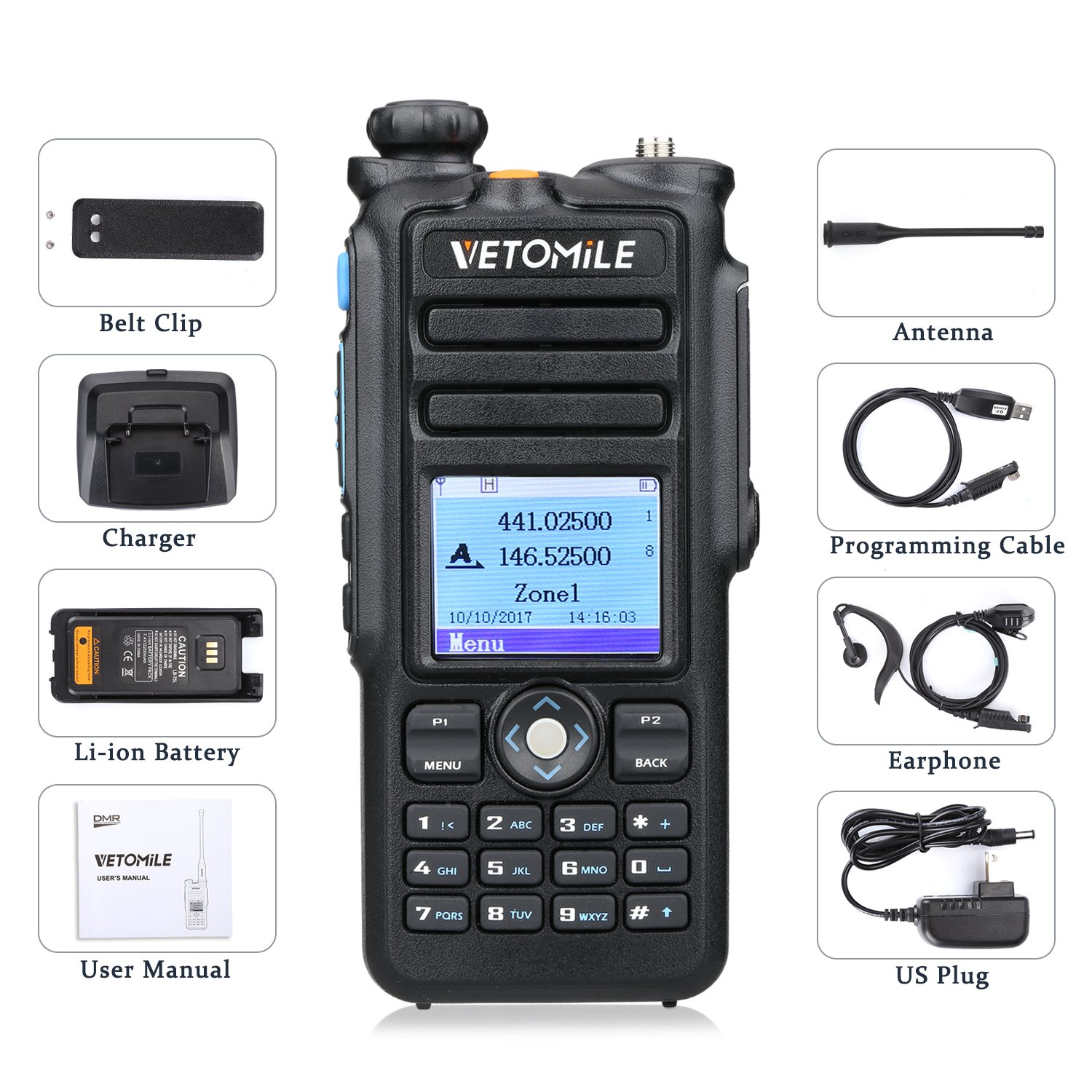 VETOMILE V-2017 Dual Band DMR Digital/Analog Two Way Radio 5W VHF 136-174MHZ & UHF 400-480MHz Walkie Talkie 3000 Channels IP67 Waterproof with GPS Function and Programming Cable by VETOMILE (Image #9)