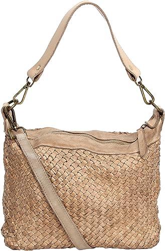 fashion formel Damen Tasche Beutel, Schultertasche Vintage Used Look M2117 geflochten,gewaschenes Leder, Italy handgefertigt