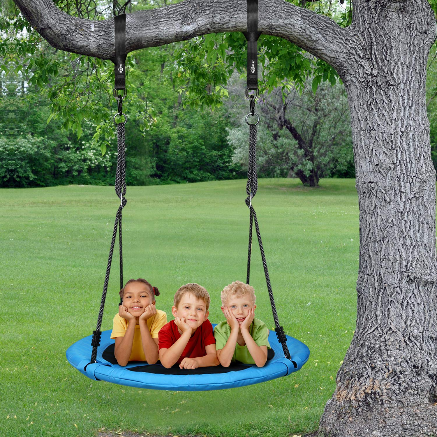 Trekassy 700lb Saucer Tree Swing for Kids Adults 40 Inch 900D Oxford Waterproof Frame with 2 Hanging Straps by Trekassy (Image #7)