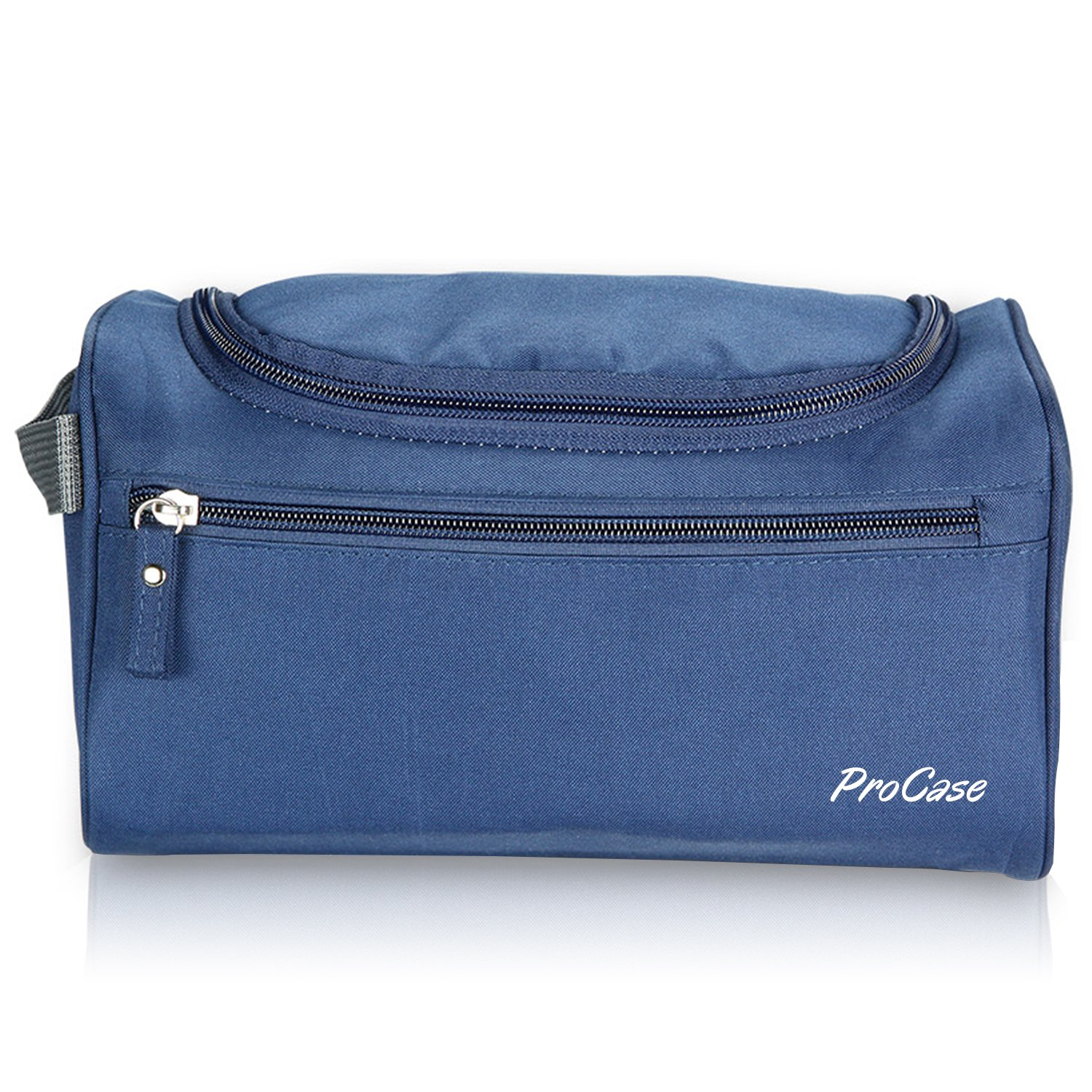 ProCase Toiletry Bag Travel Case with Hanging Hook, Organizer for Accessories, Shampoo, Cosmetic, Personal Items, Healthcare Bag with Handle, Navy Blue