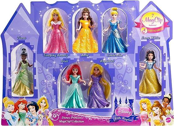 Disney Princess Magiclip Geschenkset Mit 7 Puppen Tiana Rapunzel Belle Arielle Cinderella Schneewittchen Und Dornröschen Spielzeug