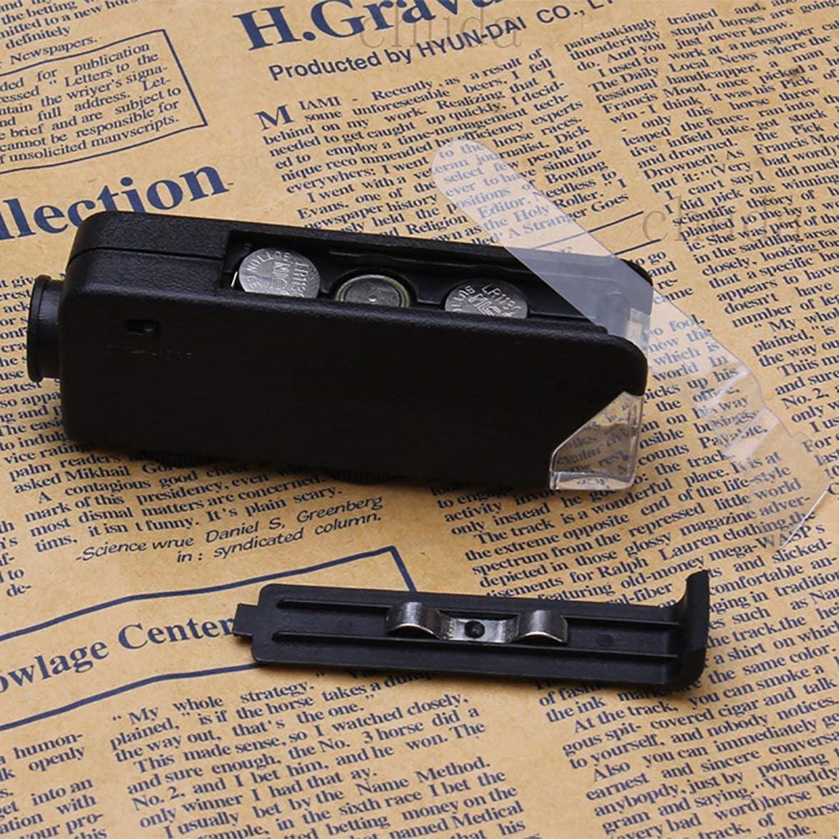 Pandamama Portable 60x-100x Illuminated Zoom Pocket Microscope Magnifier Loupe Manual Adjustment Focus for Perfect Vision