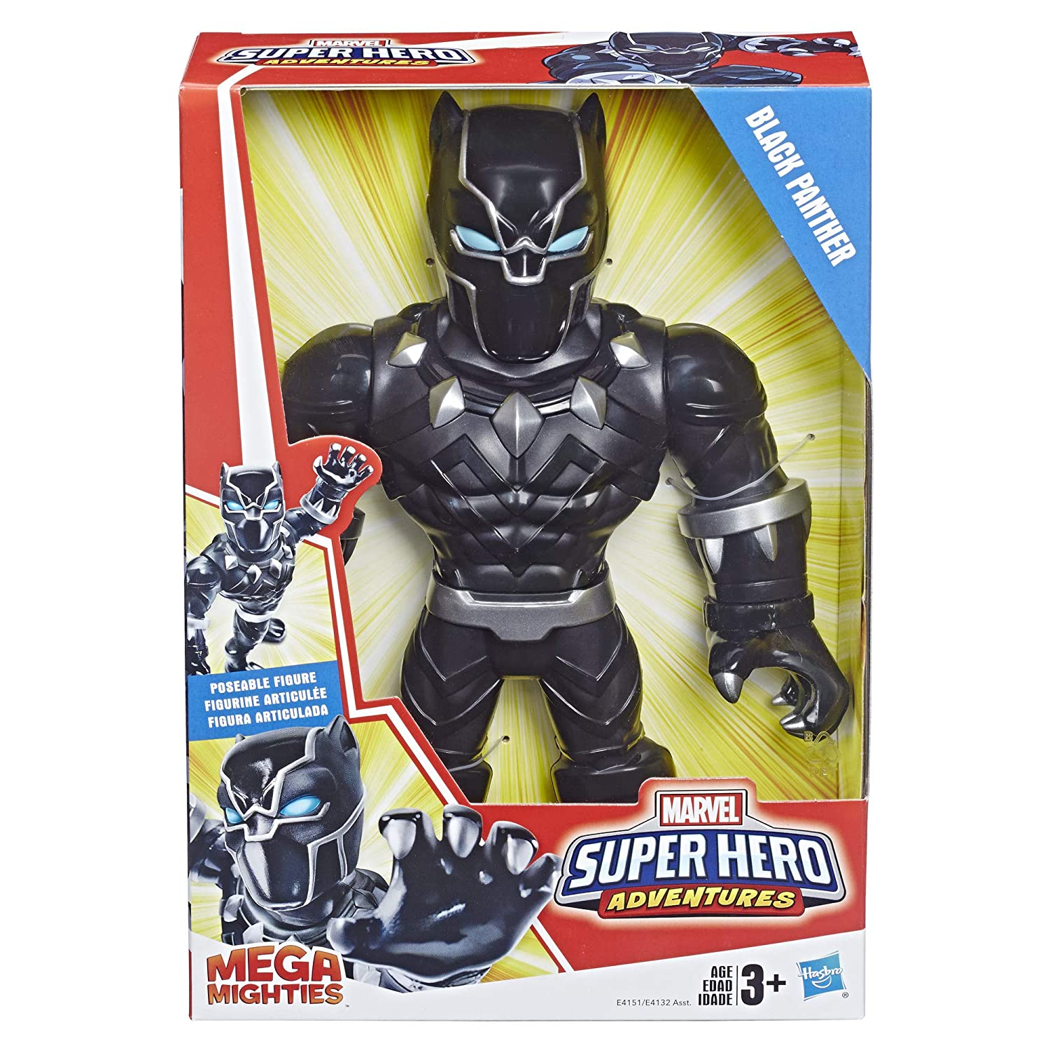 Playskool Heroes Marvel Super Hero Adventures Mega Mighties Black Panther Collectible 10 Action Figure Toys for Kids Ages 3 /& Up