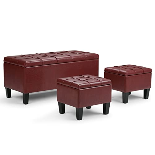 Simpli Home AXCOT-238-RRD Dover 44 inch Wide Contemporary Rectangle 3 Pc Storage Ottoman in Radicchio Red Faux Leather