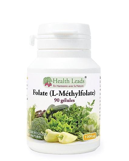 Folate (L-Méthylfolate) 1000 mcg x 90 gélules (Pas de stéarate de ... a7eab79c662