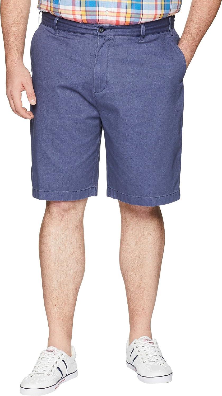 Nautica Big and Tall Mens Cotton Twill Flat Front Chino Short, Blue Indigo, 44W