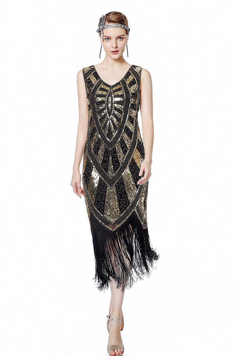 1920s Costumes: Flapper, Great Gatsby, Gangster Girl Metme 1920s Inspired Fringe Embellished Gatsby Flapper Midi Dress Prom Party $50.99 AT vintagedancer.com