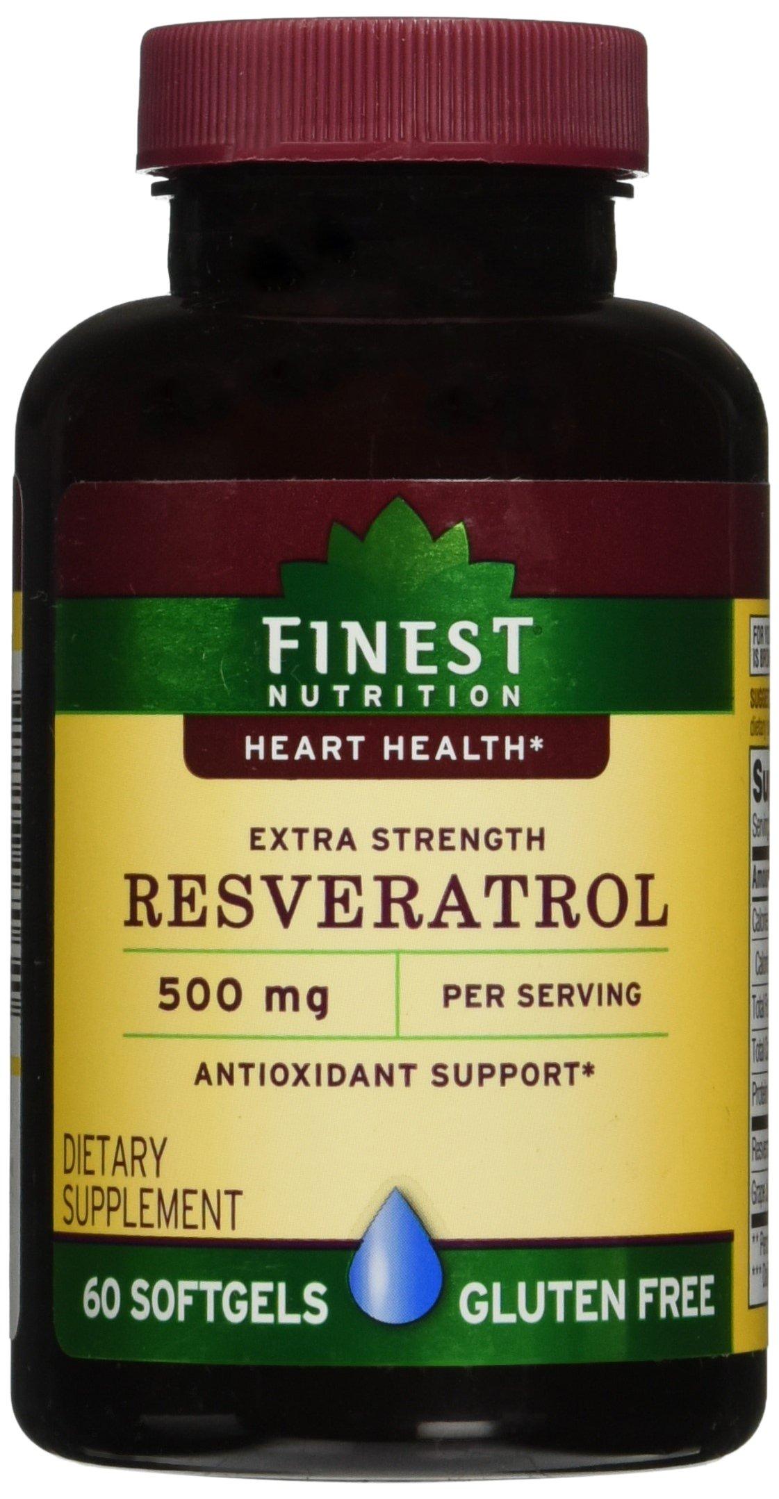 Finest Nutrition Resveratrol 500mg Extra Strength, Softgels, 60 ea