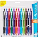 Paper Mate Profile Retractable Ballpoint Pens, Bold (1.4mm), Assorted Colors, 12 Count