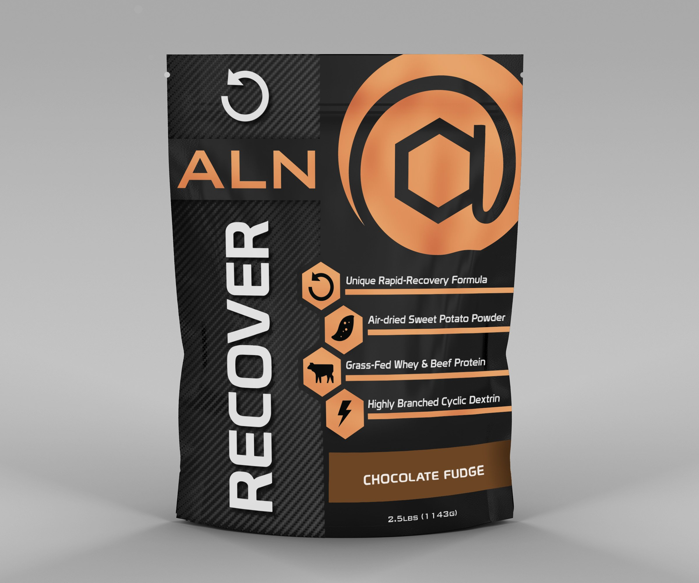 At Large Nutrition: RECOVER Chocolate Fudge post-workout, rapid recovery formula, air-dried sweet potato powder, grass-fed whey, beef protein, Highly Branched Cyclic Dextrin, soy-free, hypoallergenic