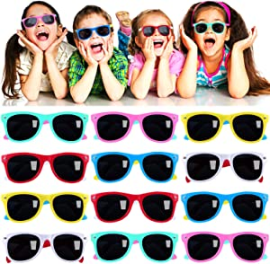 Kids Sunglasses Party Favors in Bulk, 12Pack Neon Sunglasses for Kids, Boys and Girls, Summer Beach, Pool Party Favors, Fun Gifts, Party Toys, Goody Bag Stuffers, Gift for Birthday Party Supplies
