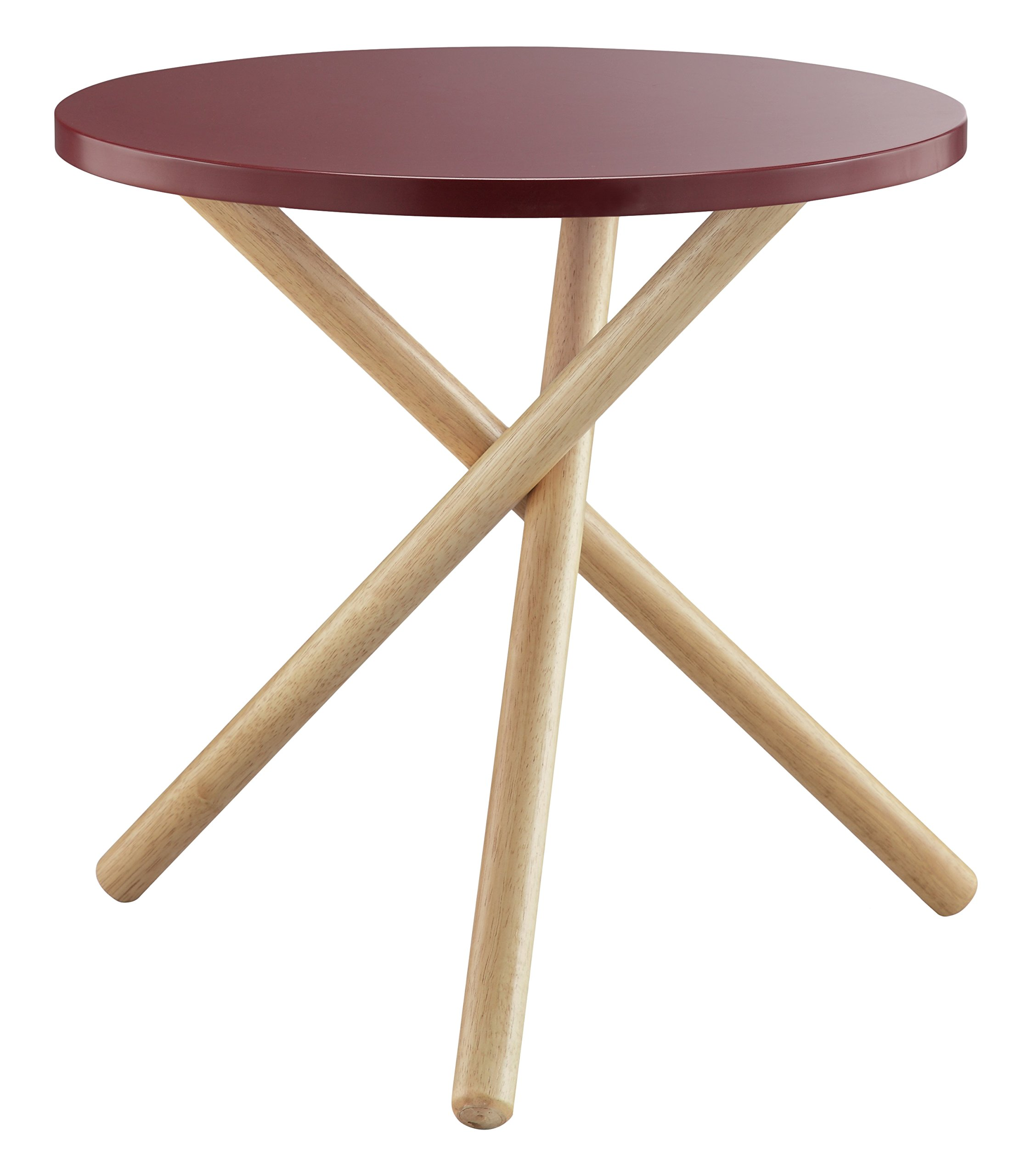 ACME Lanica Burgundy and Natural End Table - Round tripod table Wooden round Top Wooden tripod base - living-room-furniture, living-room, end-tables - 810K0A4mcvL -