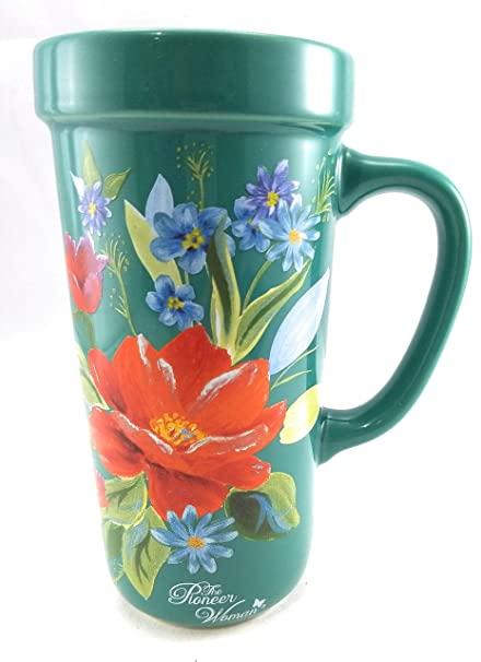 Woman Ceramic Pioneer MugTeal Floral Oz Or 14 CupTravel OrangeBlueGreens Design Tea With Coffee The shxBtdCQr