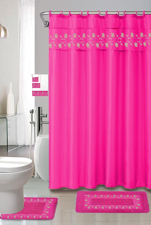 Kashi Home Thea 15 Piece Shower Set, Fuchsia