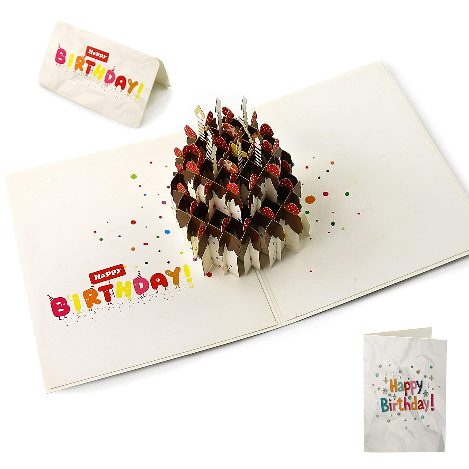 Amazon Athoinsu Happy Birthday Greeting Card 2 Layer Cake Pop Up With Envelope Best Gift For Everyone Office Products