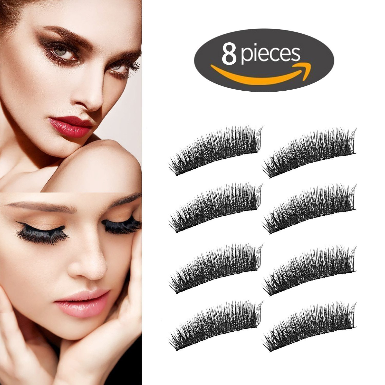 Neu Magnetische Wimpern, 3d - faser wiederverwendbare lange wimpern für make - up, keine notwendigkeit, klebstoff und natürlich aussieht, perfekte größe für alle frauen der augen (014-Wimpern-8 Paar) Wimperngeschäft