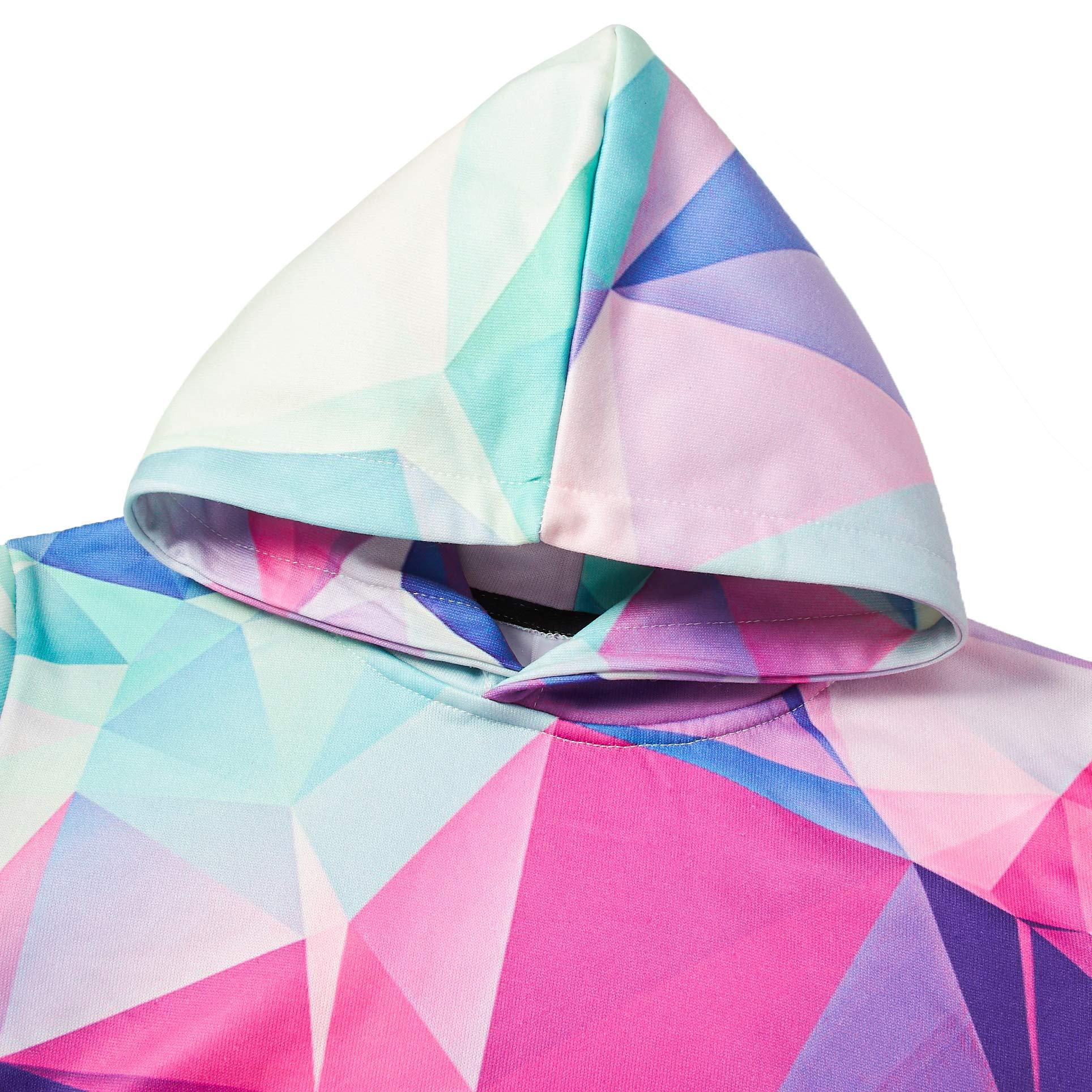 RAISEVERN Pullover per Bambini Ragazzi Unisex Cool 3D Stampato Felpe con Cappuccio Felpe con Cappuccio Coulisse con Grandi Tasche Viola 15t