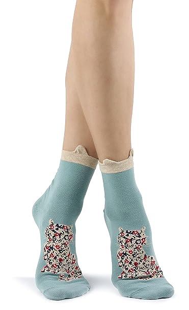 Calcetines verdes para mujer con Gato florido