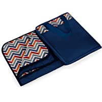 Picnic Time Vista Outdoor Picnic Blanket Tote XL, Navy with Vibe Print