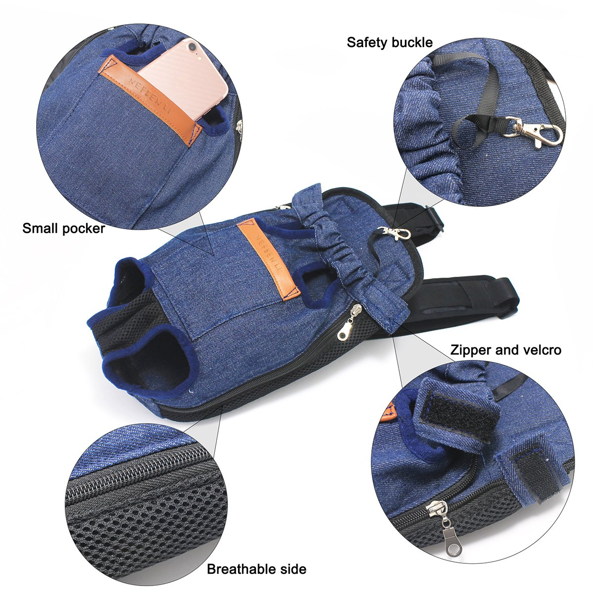 NEFBENLI Denim Blue Front Kangaroo Pouch Dog Carrier,Wide Straps Shoulder Pads,Adjustable Legs out Pet Backpack Carrier Walking,Travel,Hiking,Camping (X-Large) by NEFBENLI (Image #6)