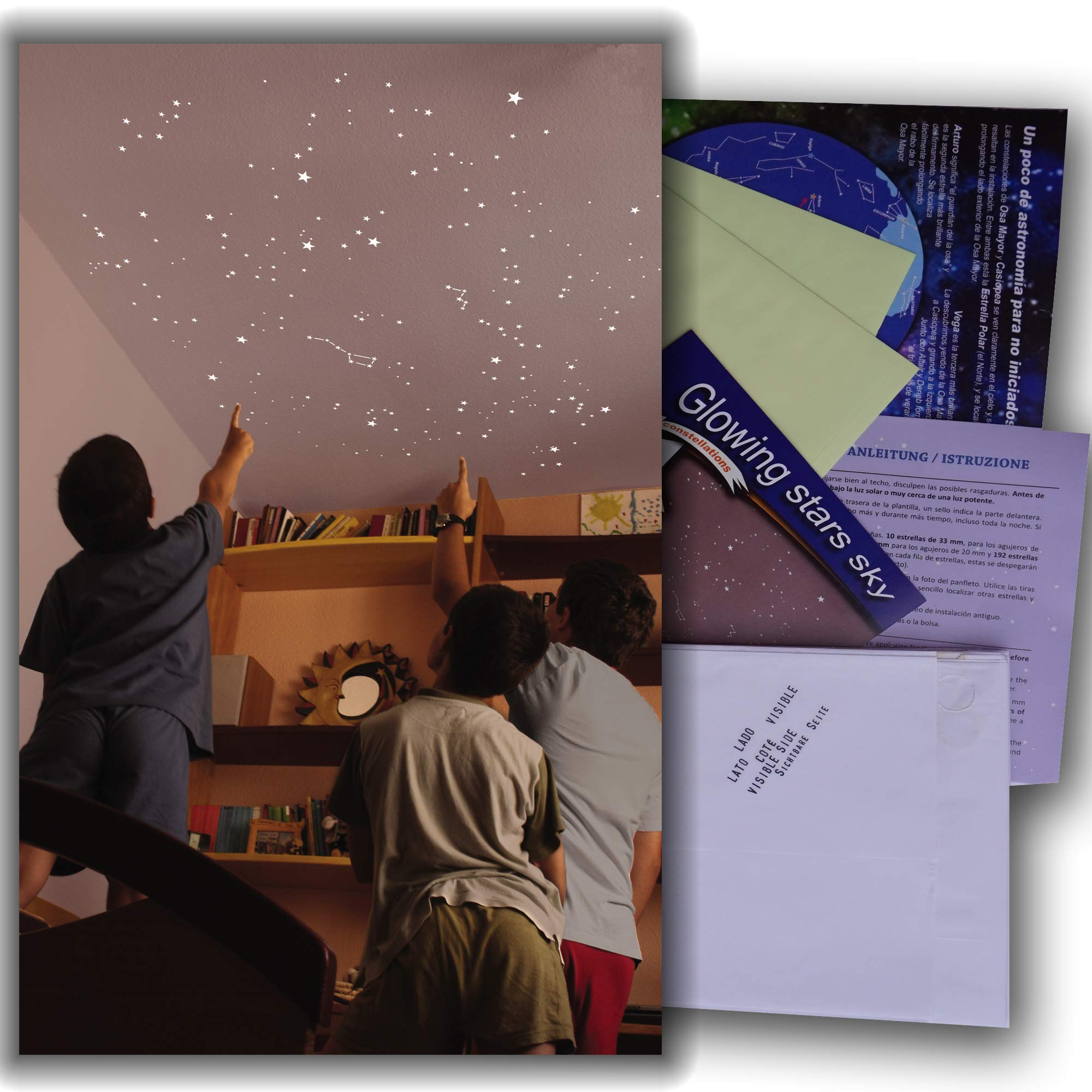 Kit of 270 fluorescent STARS + STENCIL of 2 m². EXACT REPRODUCTION OF THE SKY +2 MAPs with indications. Astronomy on ceiling or wall. Phosphorescent stickers. Glow in the dark stars by Encambio Alcrea (Image #1)