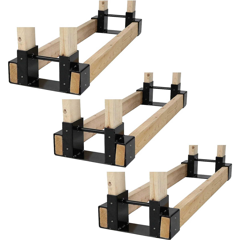 Sunnydaze Outdoor and Indoor Firewood Log Rack Bracket Kit – Black Powder-Coated Steel Fireplace Fire Pit Wood Storage Holder – Adjustable to Any Length – Set of 3