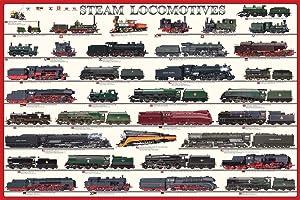 Steam Locomotives Poster, 24x36