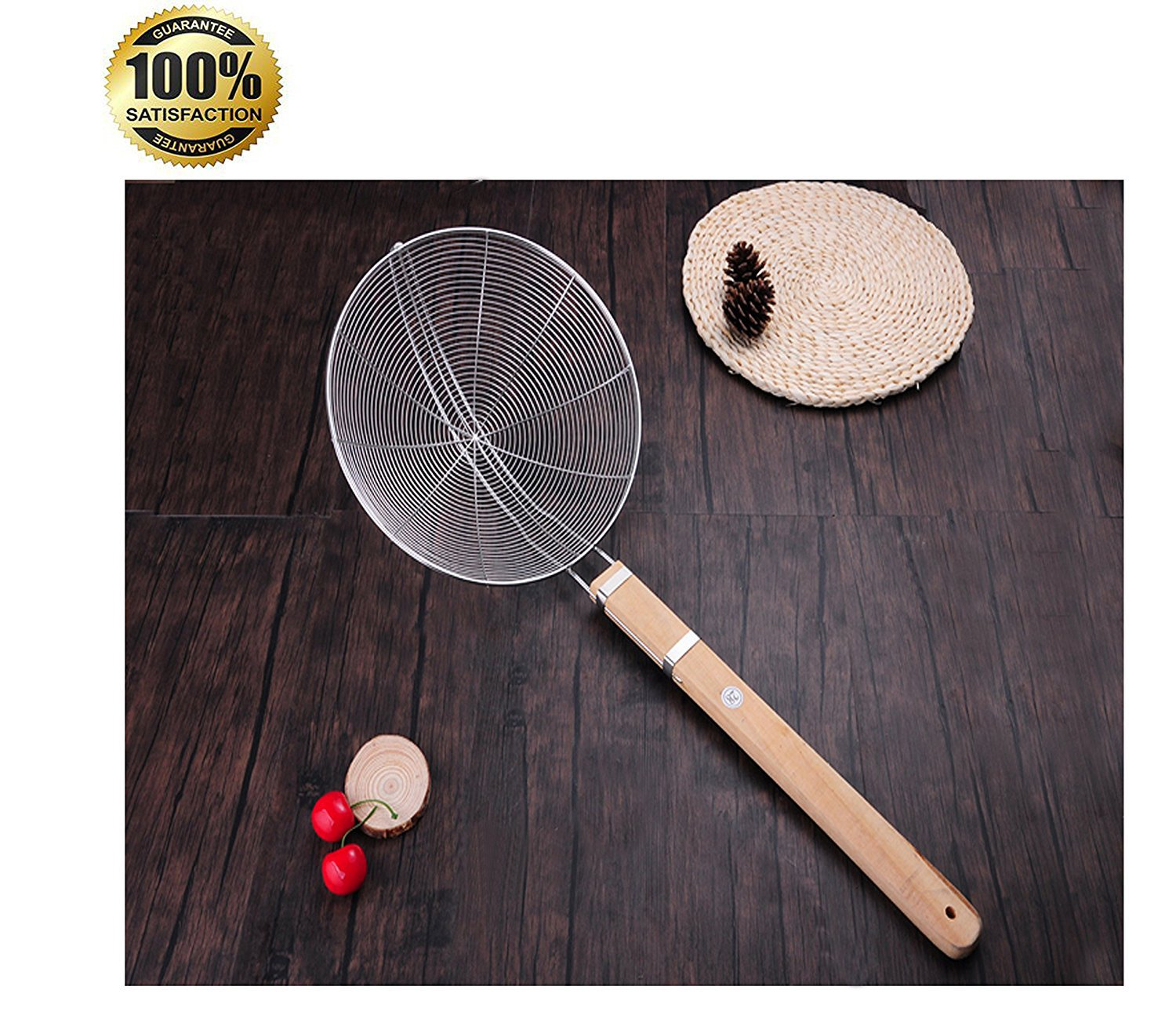 Tenta Kitchen Stainless Steel Large Wire Strainer Spider Strainer with Wooden Handle,11.6-inch basket,26.2-inch total length,big fry colander,accessories,skimmer,tool(Please Mind The Size)