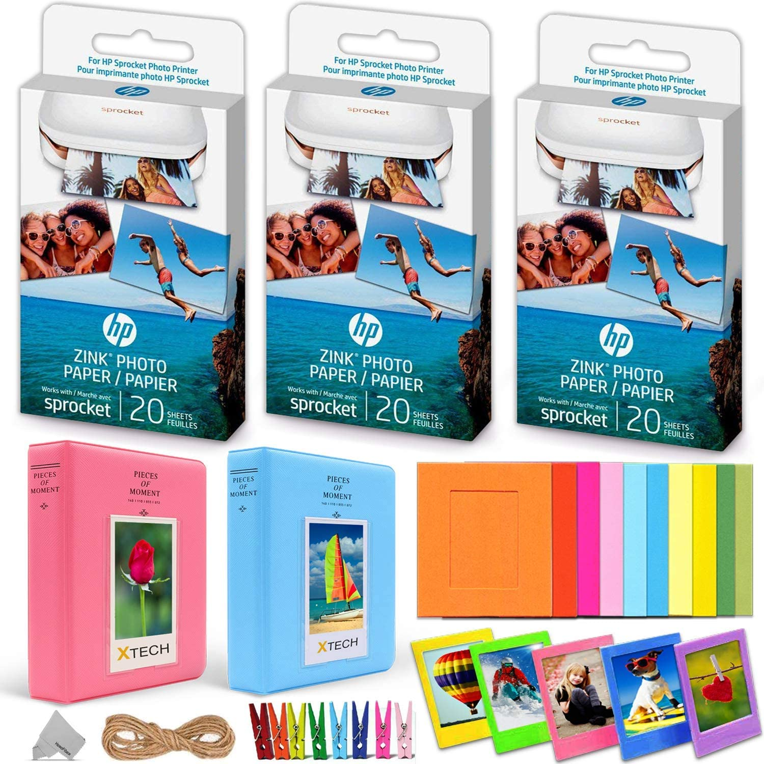3 Pack HP Sprocket Photo Paper (60 Sticky-Backed Sheets Total) + Accessories Kit for HP Sprocket Portable Photo Printer, 2 Photo Albums, 10 Paper Frames, 10 Plastic Frames, Hanging Clips/String