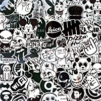 LeQin Graffiti-stickers (100 stuks), stickers van metaal, vinyl, zilverkleurig, zwart, stickers voor laptop, motorfiets…