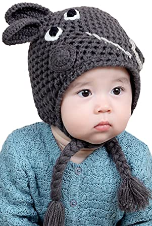 4127a927836 Amazon.com  ZEHAT Handmade Knitted Wool Crochet Hat Baby Girls Boys Caps  Winter Warm Beanie Headwrap accessories (Grey Dark Grey Red)  Clothing