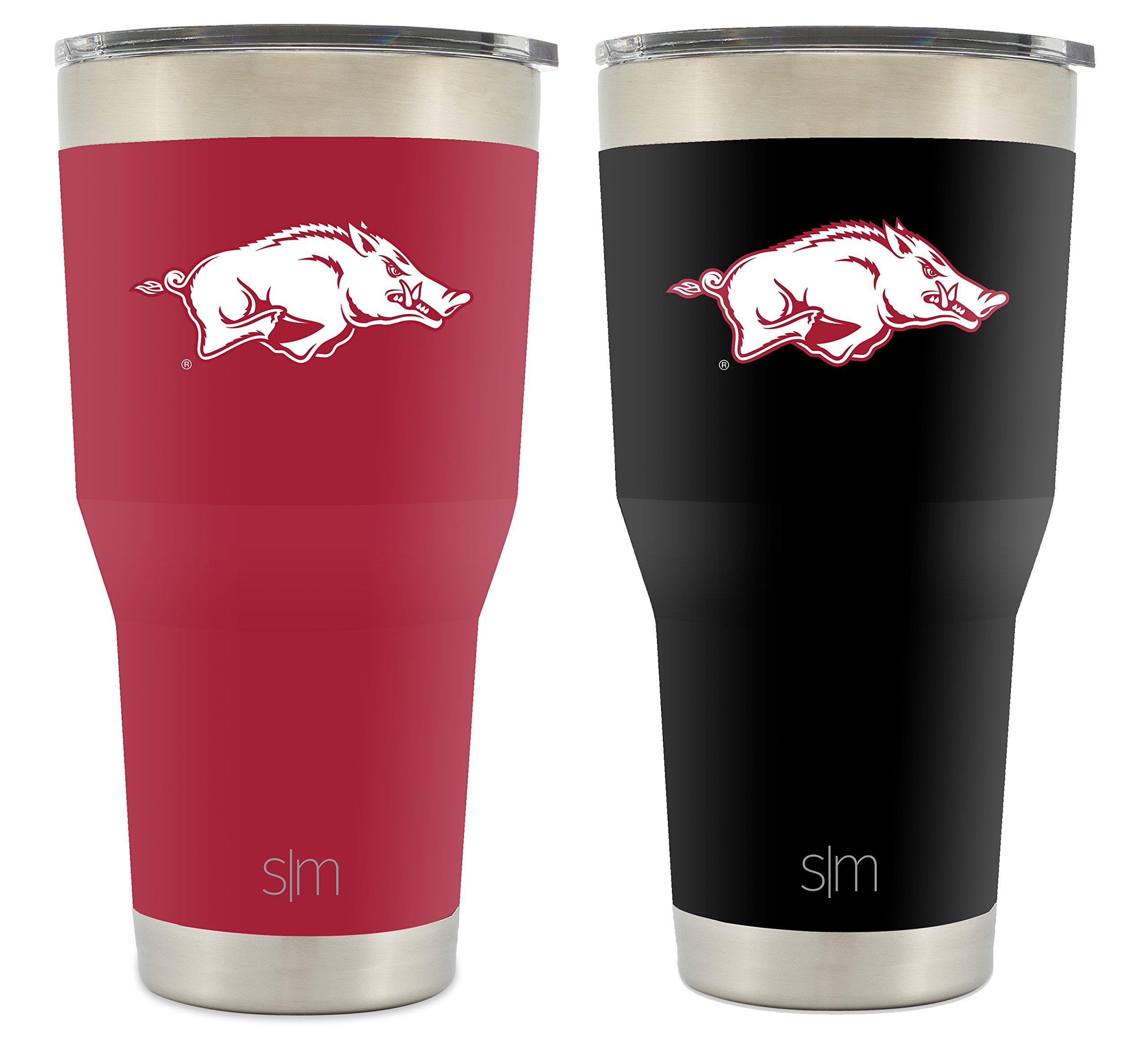 Simple Modern University of Arkansas 30oz Cruiser Tumbler 2-Pack - Vacuum Insulated Stainless Steel Hogs Travel Mug - Razorbacks Woo Pig Sooie Tailgating Cup College Flask